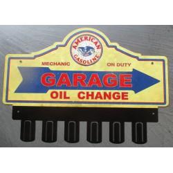 plaque tole  épaisse support de clé en métal american gasoline huile déco garage loft 38x31 cm