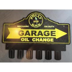 plaque tole  épaisse support de clé en métal polly gasoline huile déco garage loft 38x31 cm