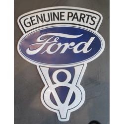 plaque logo ford v8 genuine parts 46x35 cm tole metal garage diner loft