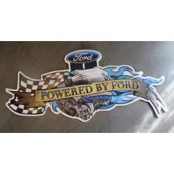 plaque moteur ford powered 60x28 cm tole metal garage diner loft