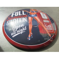 plaque bombée  pin up full service 40 cm tole metal garage diner loft