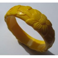 bracelet plastique résine fleur couleur jaune pin up rockabilly hawaii  femme