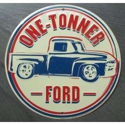 plaque  ford pick up one tonner truck tole ronde 30cm deco garage affiche metal