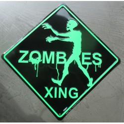 plaque zombie xing verte et noire 42cm tole deco affiche drole