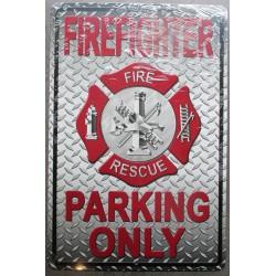 plaque pompier firefighter parking only 46cm usa tole affiche déco metal pub
