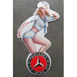 mini plaque emaillée pin up en habit de marin logo  mercedes voiture tole email deco garage