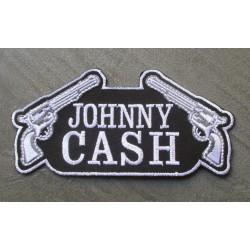patch johnny cash et 2 pistolets noir blanc 12.5cm  ecusson country rock