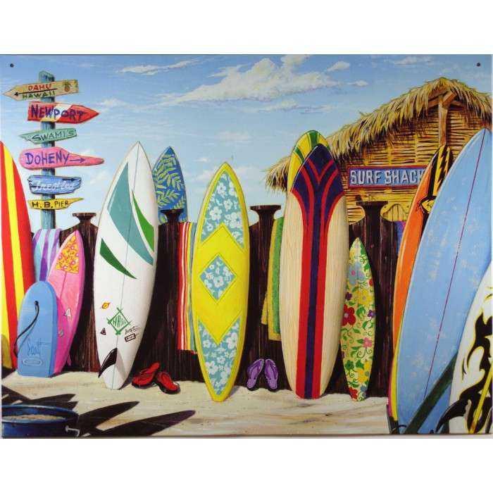 plaque planche de surf et cabane surf shack sur la plage deco mer bar snack. Black Bedroom Furniture Sets. Home Design Ideas