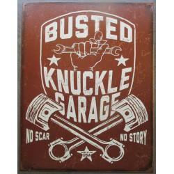 plaque busted knuckle garage marron pistons croisés tole publicitaire deco  usa