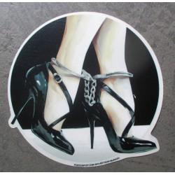 sticker menotte et chaussure sexy fetish pied autocollant rock roll drole