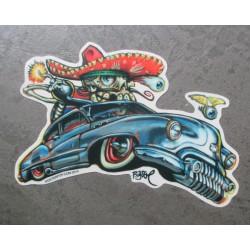 sticker buick 1950 grise et mexicain chicano  autocollant kustom kulture big toe