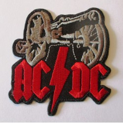 patch thermocollant ACDC canon  inscriptionrouge 6.5x6cm  hard rock  groupe