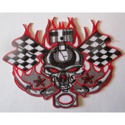 patch thermocollant crane pistonet drapeau a damier 12x9 cm  tete de mort biker
