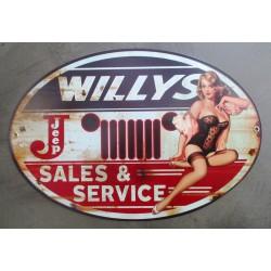 plaque tole  épaisse willys et pin up style année 50 déco garage loft 38x31 cm
