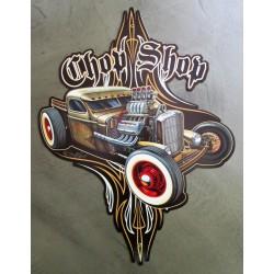 plaque tole  épaisse rat rod shop chop pinstriping 45x30cmdéco garage loft 38x31 cm