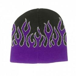 bonnet noir  grandes flammes violette rock roll homme femme adulte