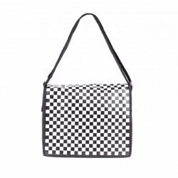 """sac bandouliere pochette rangement ordinateur portable  17"""" damier noir blanc"""