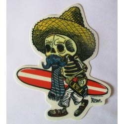sticker el borracho crane surfer 14x12 cm autocollant rockabilly