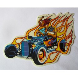 sticker hot rod roadster pin up  14x10.5 cm autocollant rockabilly