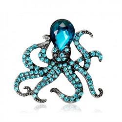 broche poulpe kraken pieuvre strass bleu pin up rock roll