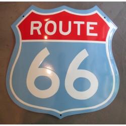 grosse plaque emaillée route 66 blason bleu 50cm tole email