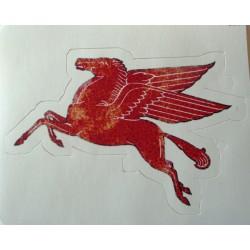 mini sticker pégase mobilgas rouge style ancien autocollant look année 50 rock roll