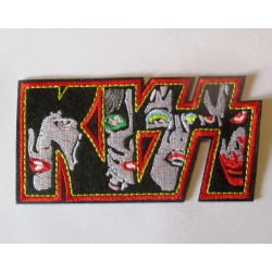 patch groupe kiss visage petit 10x5 cm rouge ecusson thermocollant  hard rock