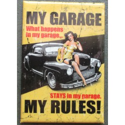 magnet 8x5.5 cm pin up et hot rod noir my garage deco garage cuisine bar diner loft frigo
