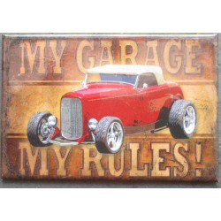 magnet 8x5.5 cm hot rod rouge my garage my rules deco garage cuisine bar diner loft frigo