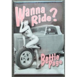 magnet 8x5.5 cm la reine des pin up bettie page et hot roddeco garage cuisine bar diner loft frigo