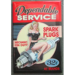 magnet 8x5.5 cm pin up sur une bougie dependable service deco garage cuisine bar diner loft frigo