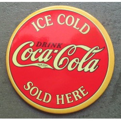 magnet 7.5 cm coca cola rond rouge ice cold sold here deco cuisine bar diner loft frigo