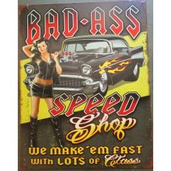 plaque chevrolet bel air 1957 à flammes pin up bad ass speed shop 41cm deco garage affiche metal