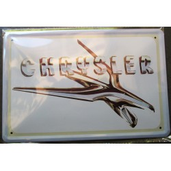plaque chrysler insigne de capot en gros plan tole publicitaire metal pub