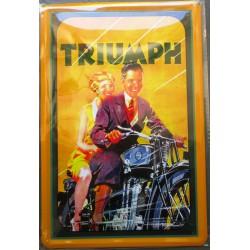 plaque couple sur une moto triumph tole publicitaire metal pub deco garage