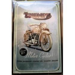 plaque motorcycle triumph moto grise tole publicitaire metal pub