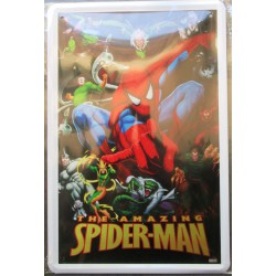 plaque amazing spiderman l'araignée super hero tole publicitaire metal pub