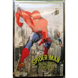 plaque spiderman l'araignée schlagt zuruck tole publicitaire metal pub