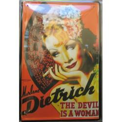 plaque marlen dietrich the devil is a woman affiche film tole publicitaire metal pub