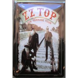 plaque groupe  ZZ top the tonnage tour hard rock roll musique tole publicitaire metal pub fan artiste
