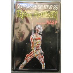 plaque groupe  iron maiden somevhere on  tour 86 hard rock roll musique tole publicitaire metal pub fan artiste