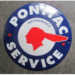 mini plaque emaillée pontiac service bleu 12cm tole email usa