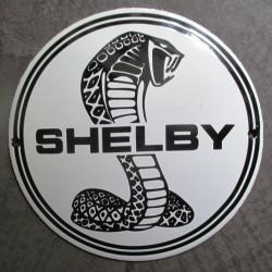 mini plaque emaillée shelby serpent noir et blanche 12cm tole email usa