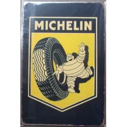 plaque michelin bibendum et gros pneu deco garage tole