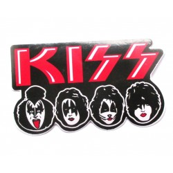sticker  groupe kiss 10x6cm  rouge et visages rock roll autocollant