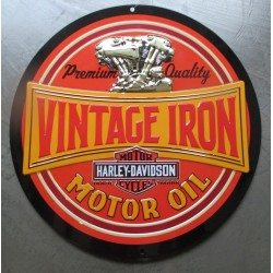 plaque Harley Davidson ronde 36cm vintage iron motor oiltole deco garage