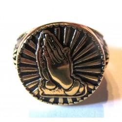 chevaliere doré main religieuse 12us coeur bague homme femme