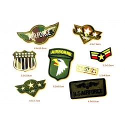 lot de 8 patches militaire armé americaine us air force kaki  ecusoon thermocollant déco vetements