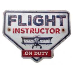 plaque flight instructor avion aviation 33x26cm deco retro bar diner