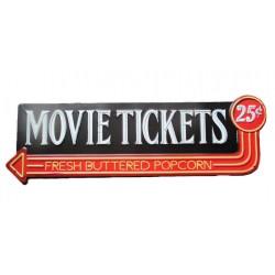 plaque movie tickets deco salle de cinema 58x19 cm deco retro bar diner
